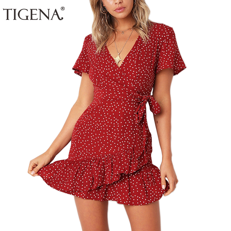 TIGENA Ruffles Polka Dot Dress Women With Belt 2019 Sexy V-neck Tunic Boho Beach Summer Dress And Sundress Robe Femme Blue Red