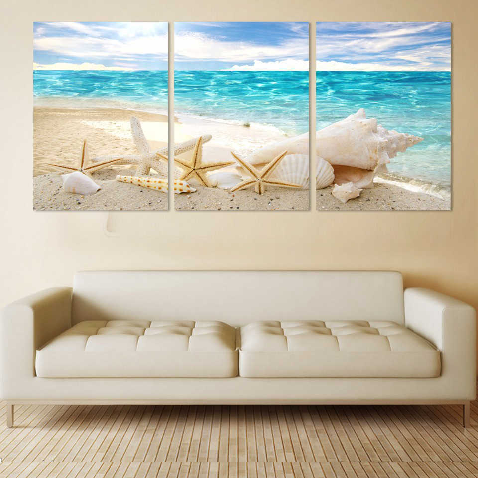 Modern HD Printed Pictures Canvas Painting 3 Panel Sea Beach Shell View Wall Art Home Decoration Frame Poster For Living Room