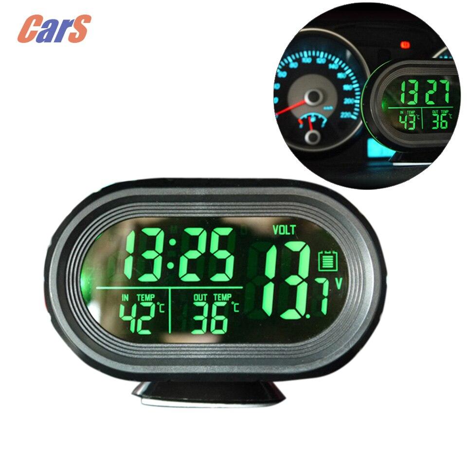 Hot Sale12V 24V Digital Auto Car Thermometer Car Battery Voltmeter Voltage Meter Tester Monitor Noctilucous Clock
