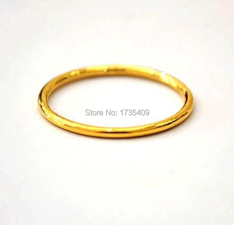 Meilleur 999 solide 24 K bague en or jaune/chanceux hommes et femmes anneau bande/USA taille 5
