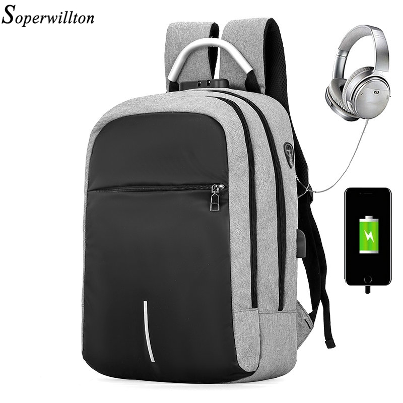 Soperwillton New Men Backpack Usb Charging 15.6 Inch Laptop Backpacks For Teenager Male Mochila Leisure Travel Backpack #1206