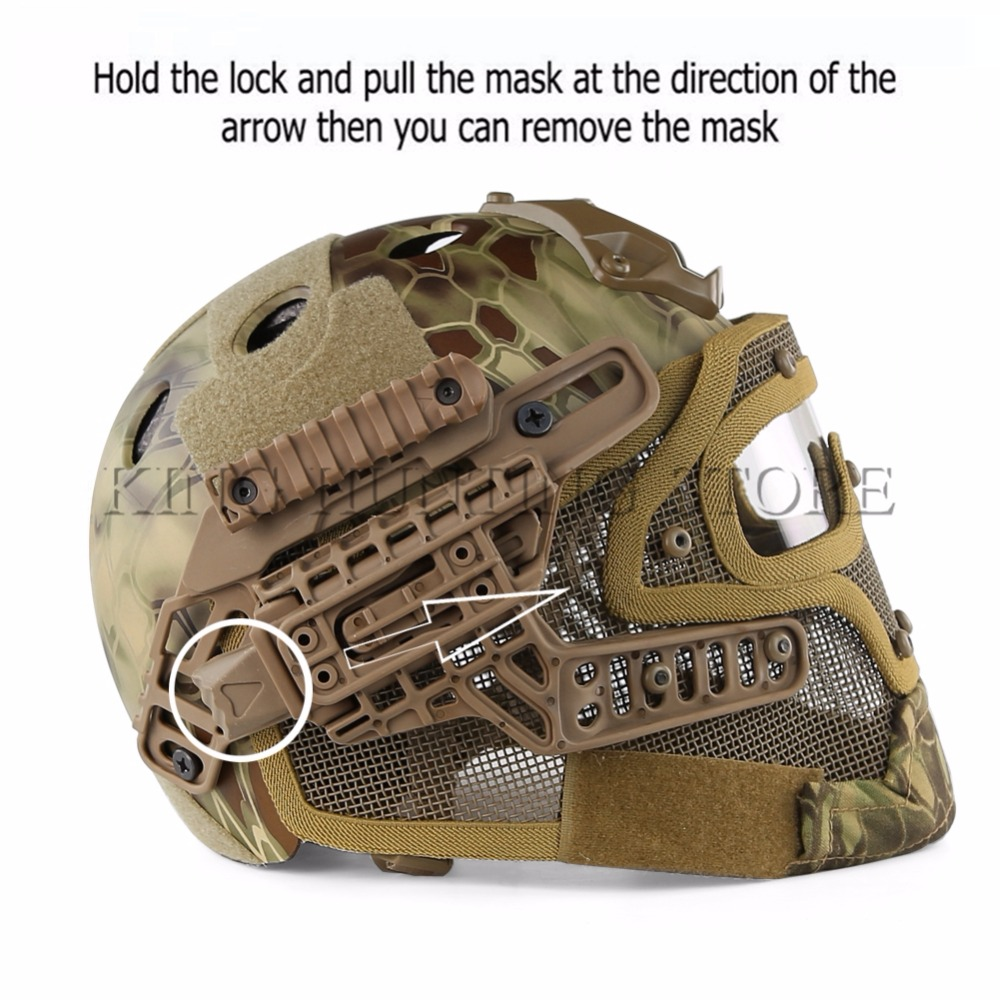 PJ Type FAST Molle Helmet Tactical Helmet Combined With Full Mask Goggles for Airsoft Paintball CS Outdoor Activities Fre tactical fast mh standard helmet for airsoft paintball khaki