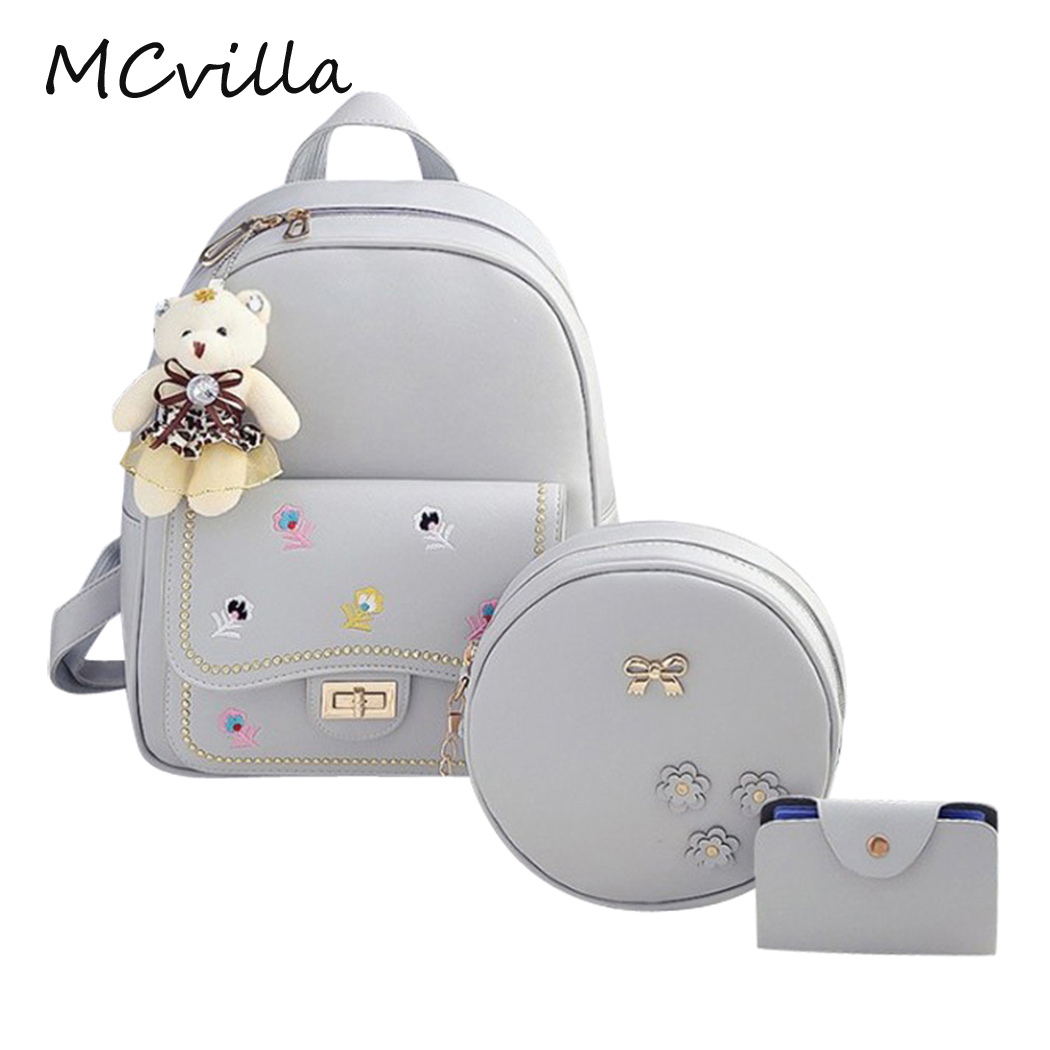 2018 4pcs/Set Brand New Embroidery Women Backpack Fashion Rivet School Bag For Teenagers Girl PU Leather Backpack Women