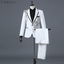 Mens White Floral Sequin 2 Pieces Suits (Jackets+Pants) Slim Fit One Button Wedding Groom Tuxedo Suit Male Costume Mariage Homme
