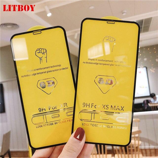 6D tam kapak temperli cam iPhone 11 Pro 8 7 6 6S artı X XS MAX iphone 7 8x12 Pro Mini ekran koruyucu koruyucu cam