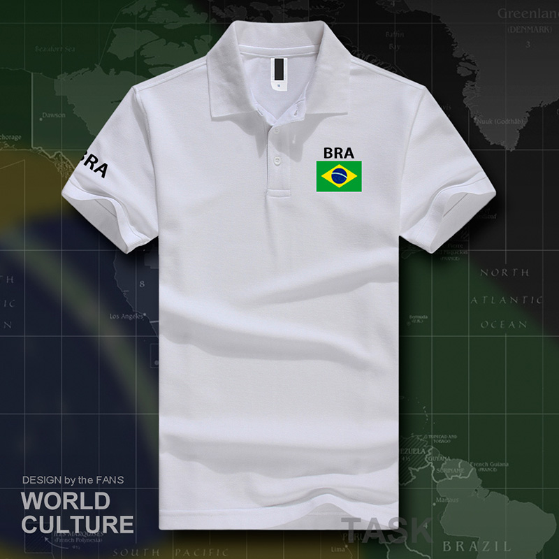 Brazil   polo   shirts men short sleeve white brands printed for country 2017 cotton nation team flag new brasil BRA Brazilian gyms