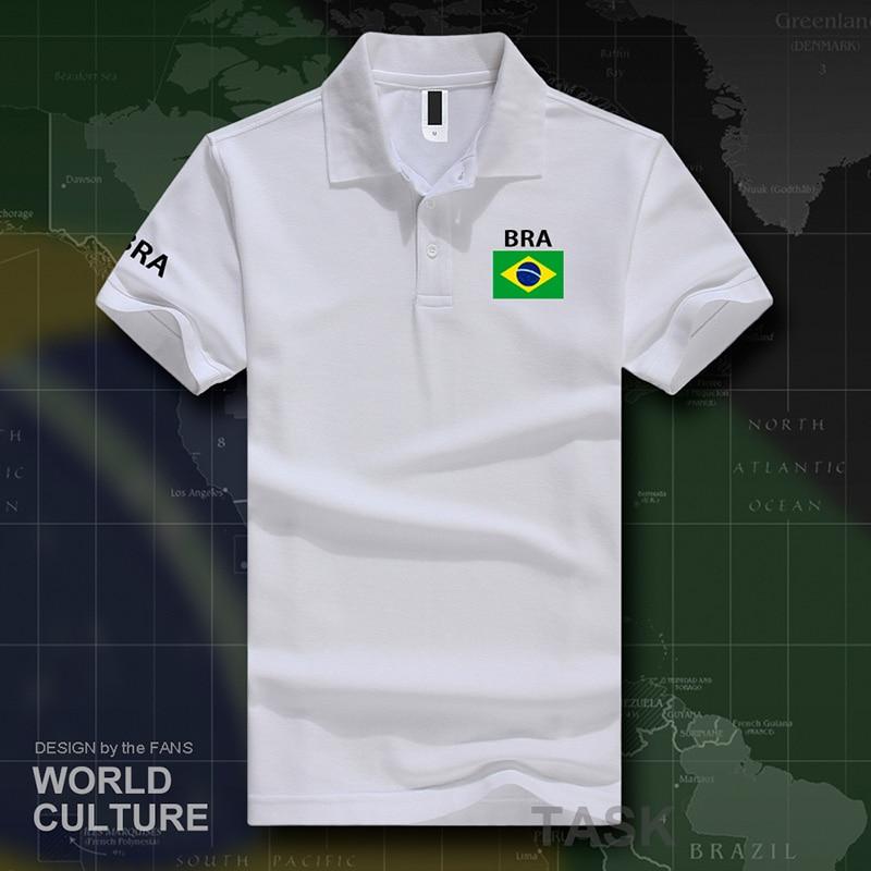 Brazil Polo Shirts Men Short Sleeve White Brands Printed For Country 2017 Cotton Nation Team Flag New Brasil BRA Brazilian Gyms