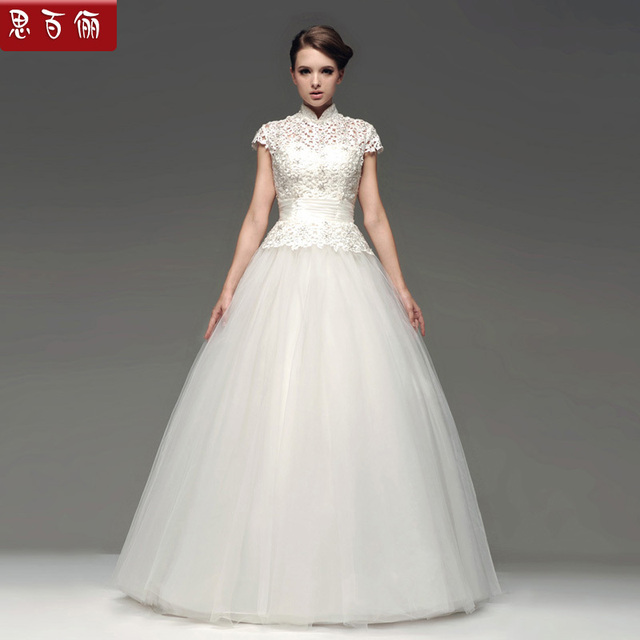 Chinese Style Wedding Dress White Vintage Slim Waist Short Sleeve Gauze Turtleneck Lace Puff