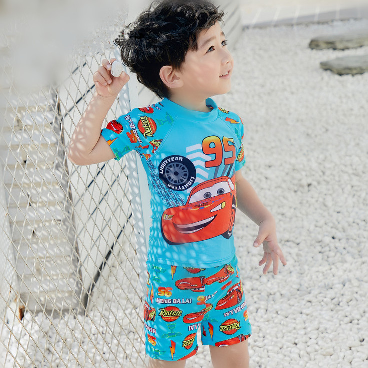 32935e9c249d6 Kids Cartoon Two pieces Swimwear Boy Swimsuit Children Bathing Suits  Toddler Beachwear with a cap for 2 11 Years Old-in Body Suits from Sports  ...