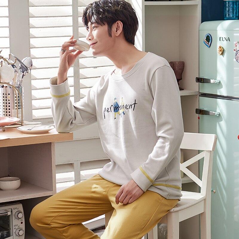 Men Pajamas Sets Autumn Long Sleeve Cotton Casual Tracksuit Sleepshirt + Pants 2pc Pyjamas Male Plus Size L-3XL Pijamas Hombre