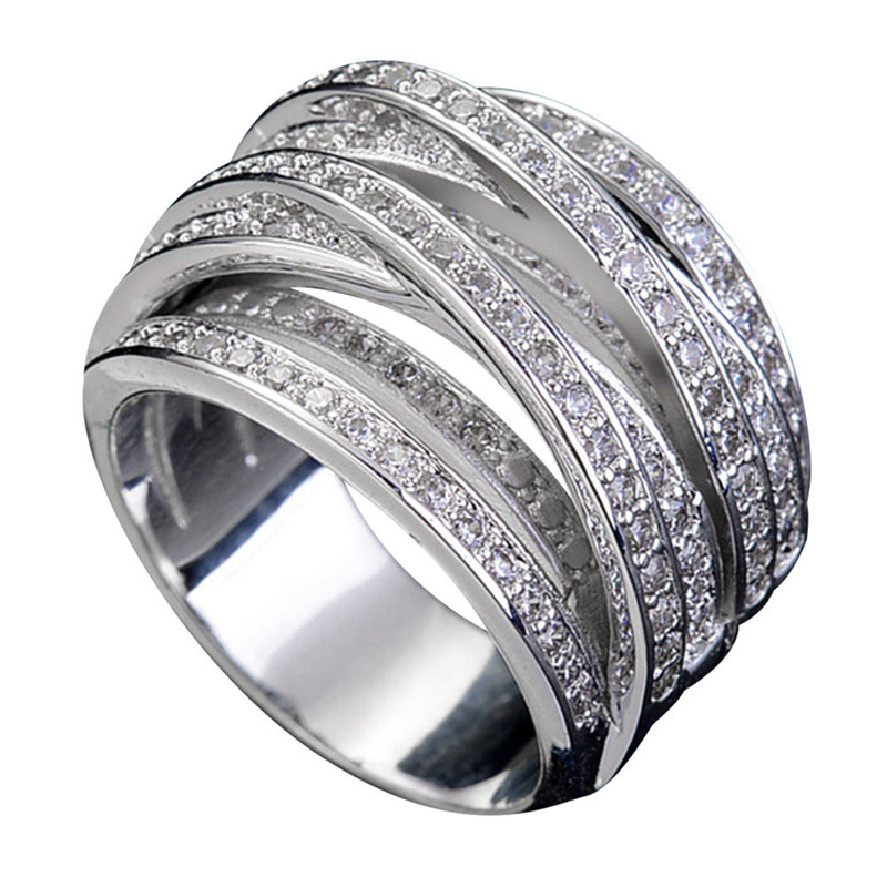 New 925 Sterling Silver Ring Exquisite AAA Zircon Winding Geometric Rings For Women Wedding Valentine's Day Jewelry Gifts