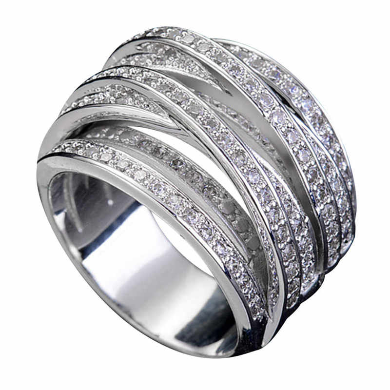 Exquisite AAA Zircon Winding Geometric Rings For Women Wedding Valentine's Day Jewelry Gifts Drop Shipping