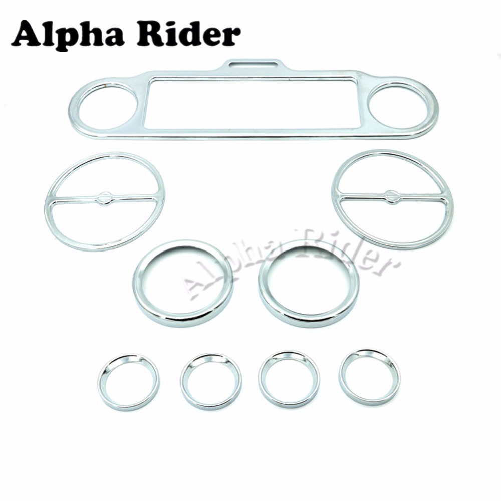 Chrome Stereo Accent Trim Ring Speedometer Gauges Bezels Horn Cover for Harley Touring Electra Street Road Glide Trike scooter parts 8pcs chrome speedometer gauges bezels and horn cover case for harley davidson touring free shipping