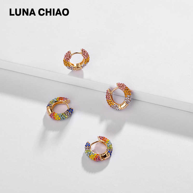 LUNA CHIAO แฟชั่นเครื่องประดับฤดูร้อน 2019 Mini Hoops ต่างหูหู Cuff เคลือบ Stack Cuff ต่างหู Huggie ต่างหู