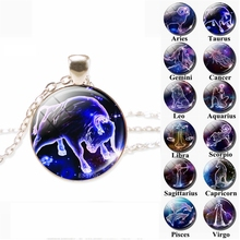 12 Zodiac Signs Glass Dome Constellations Pendant Necklace Fashion Jewelry Women Virgo Cancer Aries Gemini Birthday Gift