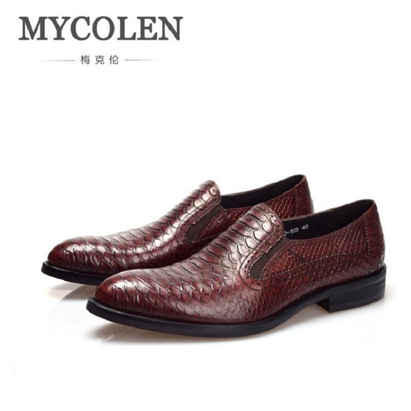 MYCOLEN Brand Men Shoes Snakeskin Pattern Handsome Comfortable Men Dress Shoes Men Black Leather Business Loafer Schoenen