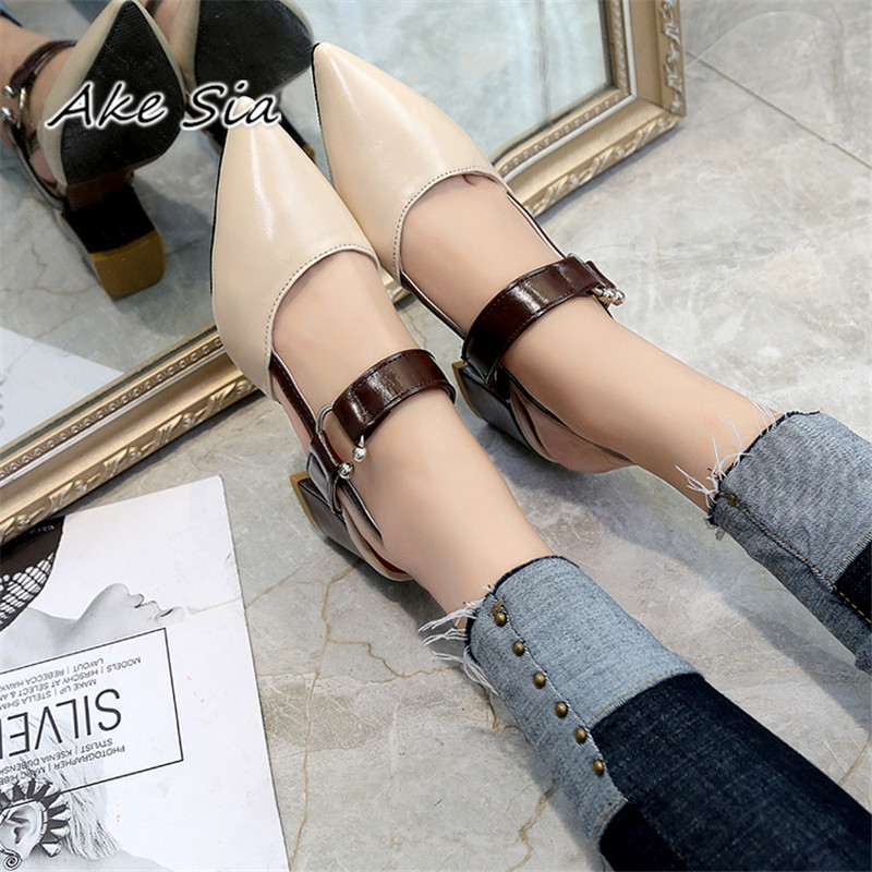 2a9417e1ef0 2019 spring hollow coarse sandals high-heeled shallow mouth pointed ...