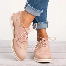 Europe 2019 New Women Shoes Flats Brogue Shoes Oxfords Solid Fashion Casual Shoes Woman Lace-up Shallow Non-slip Plus Size 35-43 цена