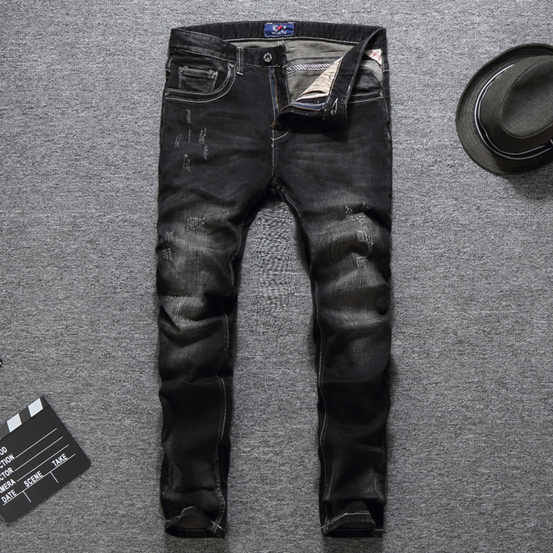 2018 Newly Fashion Mens Jeans High Quality Slim Fit Black Color Classical Jeans Men Stretch Denim Pants Brand Ripped Jeans