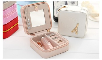 Travel Jewelry Box Small Makeup Organizer PU Mirror Zipper Jewellery Case Faux Leather Makeup Bag