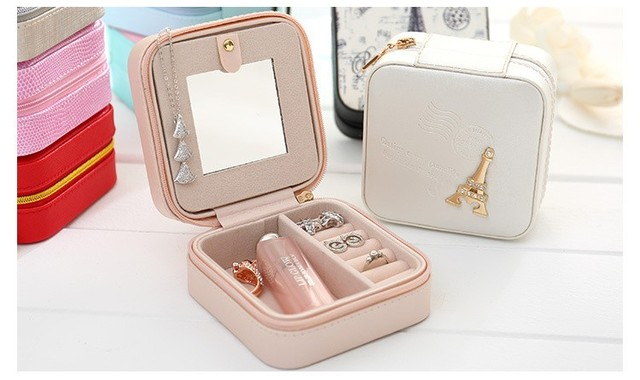 Travel Jewelry Box Small Makeup Organizer PU Mirror Zipper Jewellery Case Faux Leather Makeup Bag Earring