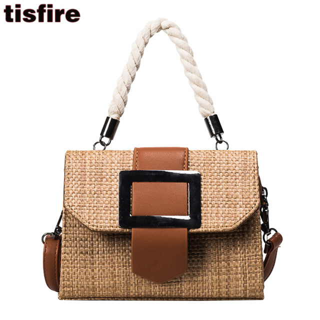 Tisfire Brand Hemp Top Handle Bags Vintage Designer Strew Beach Bag Summer Fashion Leisure Handbags