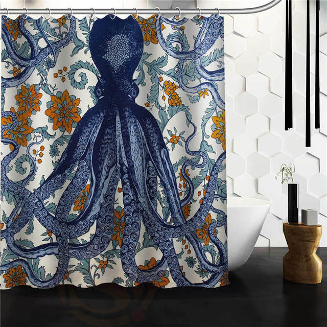 Custom Octopus Shower Curtain Bathroom Products Creative Polyester Home Product