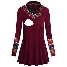 Женский топ для кормления с цветочным принтом, рубашка для грудного кормления с длинным рукавом, зимняя одежда для кормления, Одежда для беременных размера плюс, 18Dec12