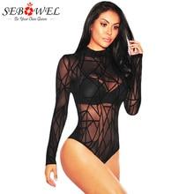 купить SEBOWEL 2019 New Black Sheer Mesh Bodysuit Women Skinny Body Jumpsuit Romper Geometric Velvet Combinaison Shorts Playsuits S-XXL онлайн