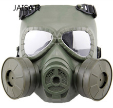 JAISATI Tactical Head Masks Resin Full Face Fog Double Fans For CS Wargame Airsoft Paintball Protection Dust Gas Mask