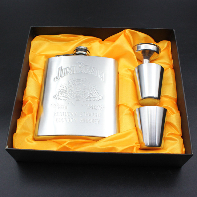 1Set 7oz Stainless Steel Hip Flask Alcohol Whisky Flagon Portable Embossing Hip Flask Personalized Set Gift Free Give Cup Funnel