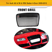 ABS Mesh Grille Black Car Grille without sensor Front Grille for Audi A6 & S6 & RS6 Sedan 4-Door 2009-2012