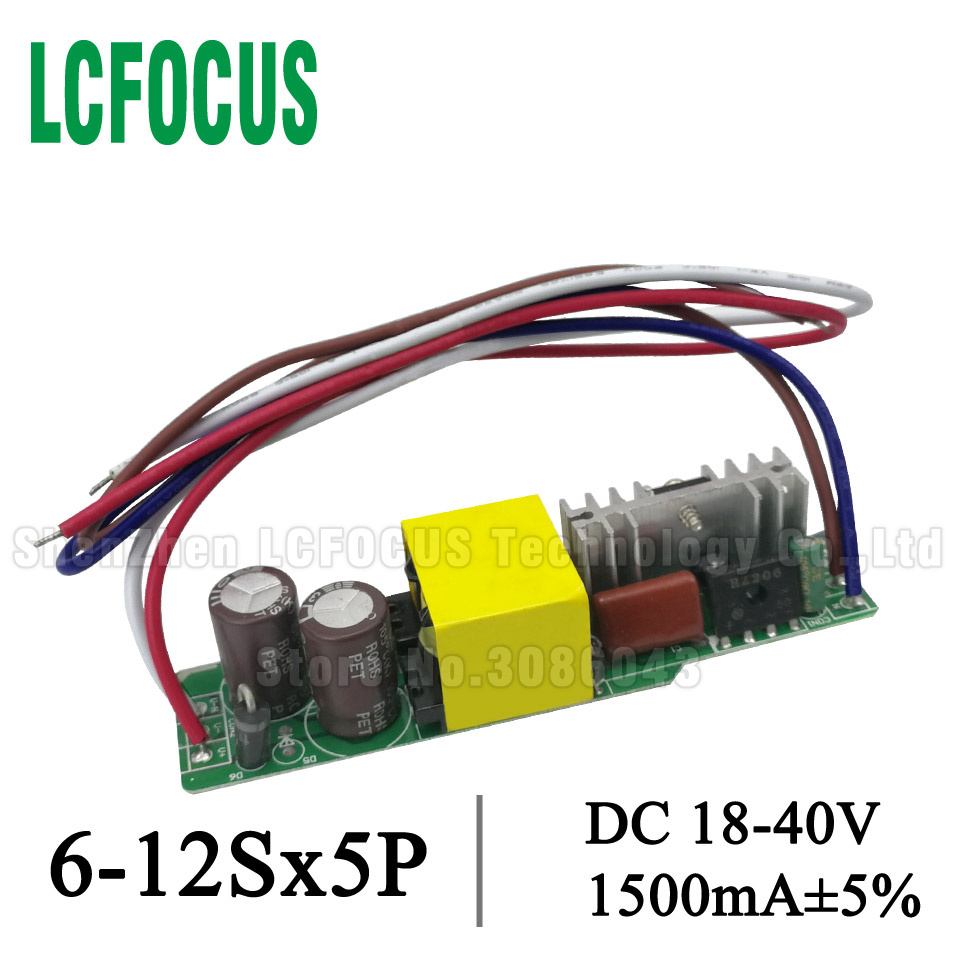 High Power 50W LED Driver 6-12Sx5P 1500mA 30 35 40 45 50 55 60 W Watt Lighting Transformers Power Supply For 50W Lamp Floodlight