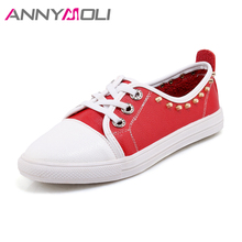 ANNYMOLI Women Flats Shoes Autumn Lace Up Rivets Casual School Shoes Solid 2018 Female Flats Loafers Red White Big Size 44 45 46