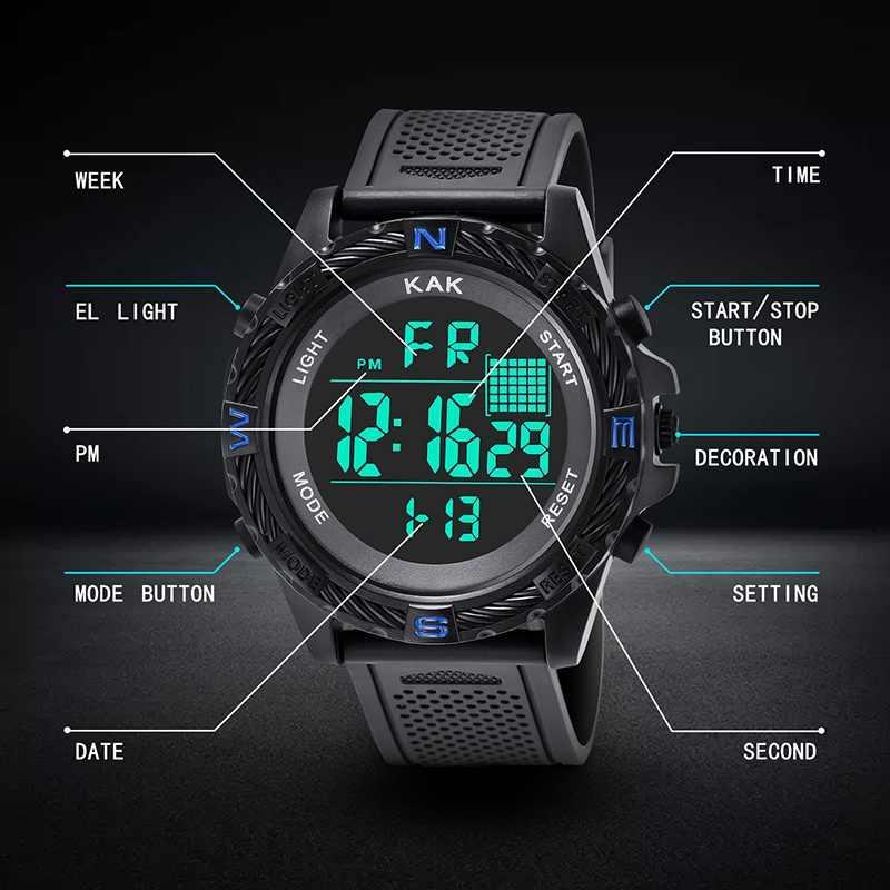 Для мужчин цифровой спортивные часы с функцией подсчета калорий термометр Прогноз погоды светодиодный часы Роскошный шагомер компас пробег метроном часы
