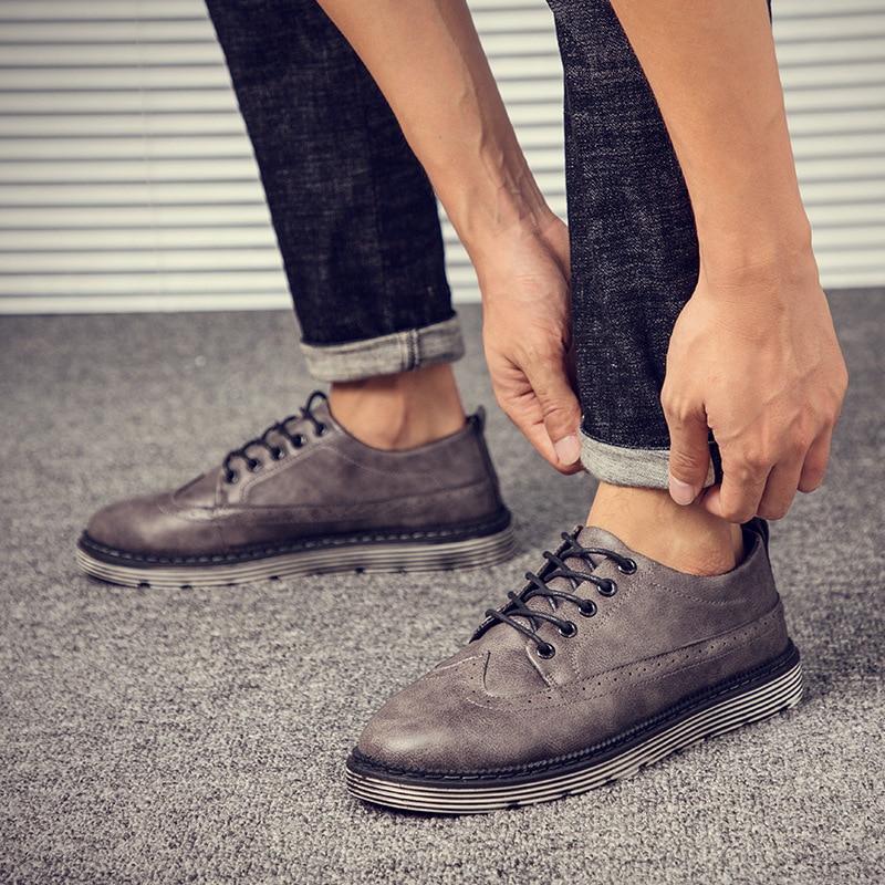 Outono Sapatos Masculino Brown Da Macio Dos Inverno Moda gray Shoes Confortável Shoes Casuais De E Homens Couro Calçado Novo Clássicos black Shoes Inglaterra Plana Homem qYzxZqw