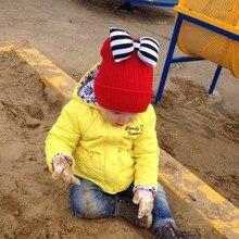 Милая Симпатичная Девочка Шляпа Бабочка-Узел Детская Одежда Шерстяные Hat Дети Теплый Вязание Hat Kawaii Детские Зимняя Шапка Девушки