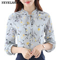 YEYELANA 2017 Spring Women Chiffon Blouse Bow Ruffle Korean Floral Print Shirt Casual Ladies Office Shirt Women Tops Clothing
