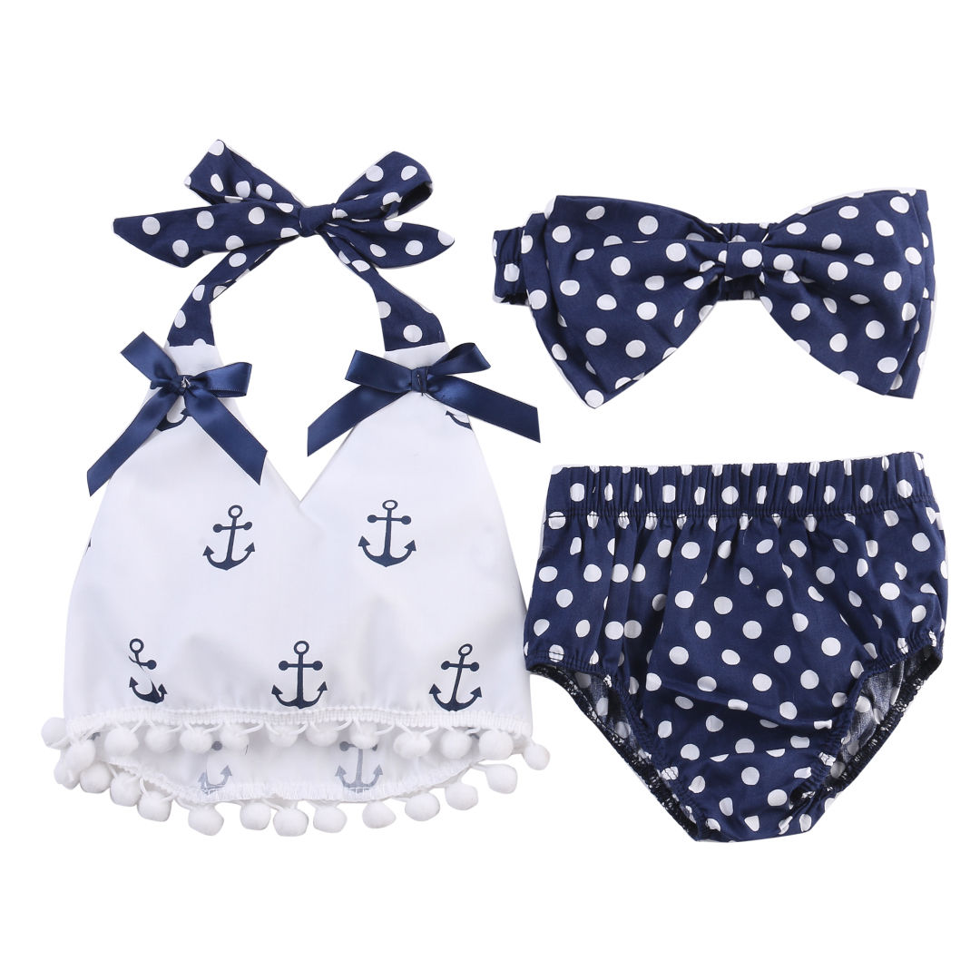 2018 new hot sale summer Cute Baby Girl Clothes set Anchor halter lace up Tops+Navy Dots Briefs Outfits Set Backless Sunsuit