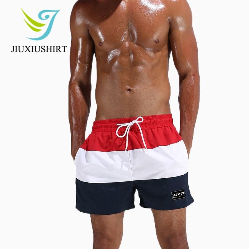03753c29cfd3f 2018 Men Swimsuit Swimwear Striped Beach Shorts Swim Trunks Swimming Surf  Broad Briefs Quick Dry Running Shorts Beachwear M-XXXL