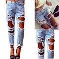 Chegada quente rasgado grandes borlas buracos calça jeans de cintura alta lavado calças jeans de corpo inteiro calças mais mulheres do tamanho da mulher