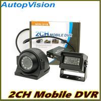Comparar DVR de seguridad para vehículo DVR de 2 canales con Control de movimiento de alarma 24 horas con Control remoto de 128 GB con cámara