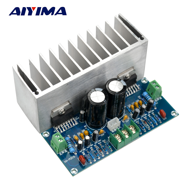 Aiyima 1PCS TDA7293 Audio Amplifier Board 100+100W Digital Stereo Power Amplifier Board With Heatsink Dual AC 12-32V power audio 4channels amplifier blue board amplifier with 3300uf capacitors