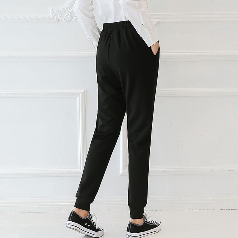 QIAOYI JIA Women OL high waist harem pants bow tie drawstring sweet elastic waist pockets casual trousers pantalones black/white 5