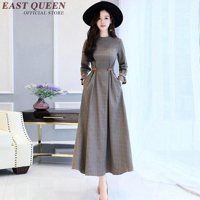Autunno vestiti delle donne femminile tartan vestito tunica a maniche  lunghe abiti invernali donne jpg 640x640 bfe26f7d67e