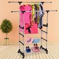 Duty Double rod racks floor drying racks indoor and outdoor stainless Rails Adjustable Telescopic Rolling Clothing Garment Rack