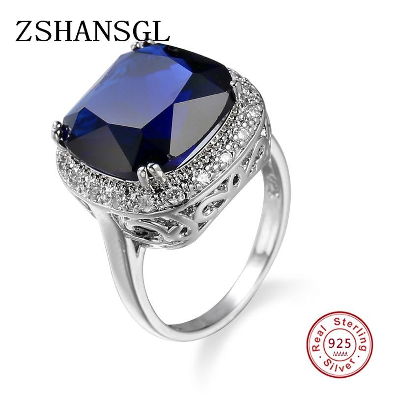 2019 Neuer Stil Solide 100% 925 Sterling Silber 5a Blau Große Kristall Cz Finger Ringe Für Frauen Liebe Süße Hochzeit Schmuck S925 Geschenk