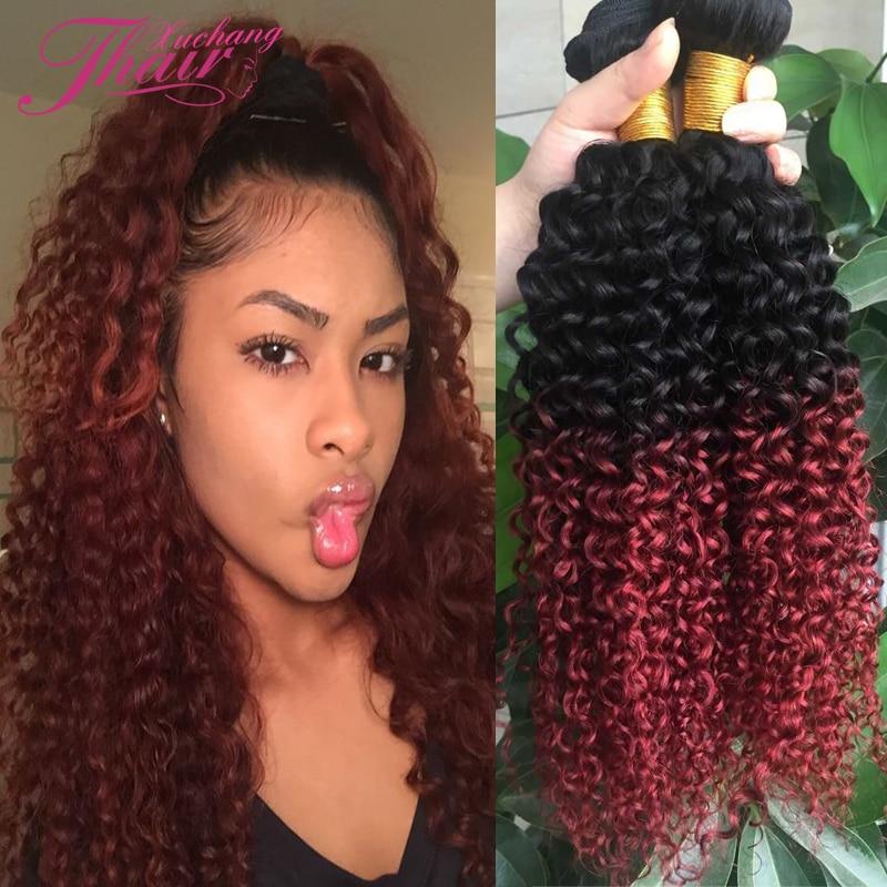 Burgundy Red Ombre Brazilian Hair Weave Brazilian Kinky