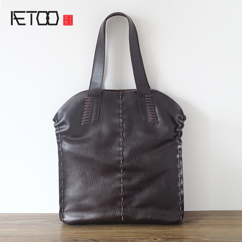 AETOO The new first layer of leather bag package Europe and the United States retro large capacity handbags women messenger bag aetoo europe and the united states trend of the first layer of planted tanned leather men handbags hand ladies shoulder diagonal