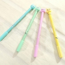 1pcs/lot 0.5mm Black Ink 3D Cute Design Cat Head Candy Color Straight Rod With Cap Gel Pen Funny Students Prize Gift